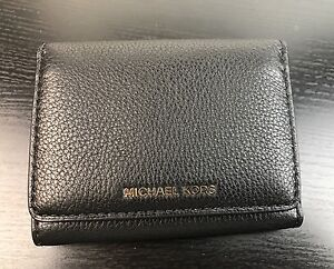 f34bb8440dae5b NWT Michael Kors MK Tri Folded Pebbled Leather Wallet Card Holder In ...
