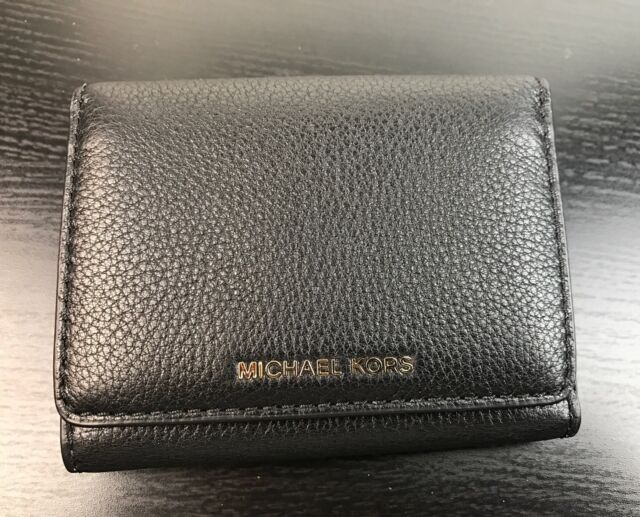 43533dc7122a ... switzerland michael kors liane small billfold flap wallet leather black  32625 6fb40