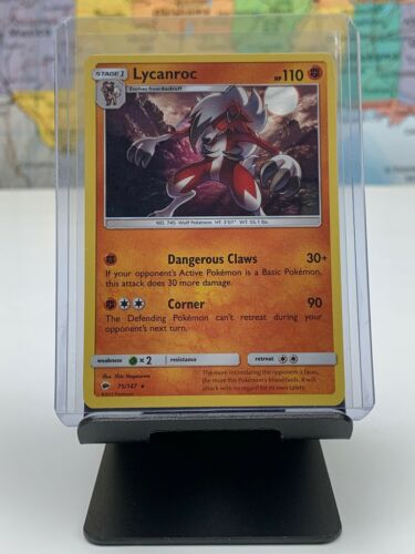 SHIPS SAME DAY Pokemon Card NM Lycanroc 75//147 Holo Stage 1 Fighting Type 2017