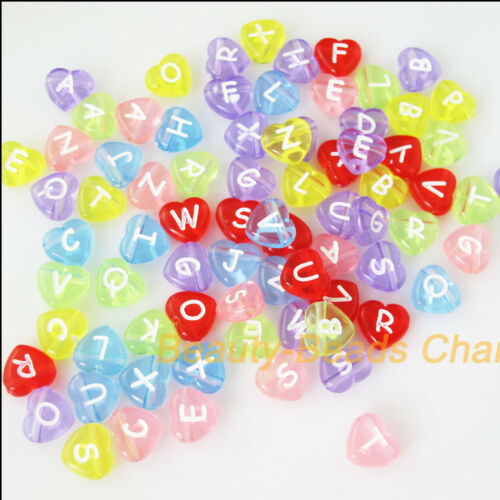 25Pcs Mixed Acrylic Plastic Heart Letters Spacer Beads Charms 12mm