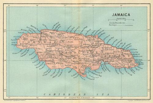 Caribbean 1931 old vintage plan chart West Indies Vintage map JAMAICA