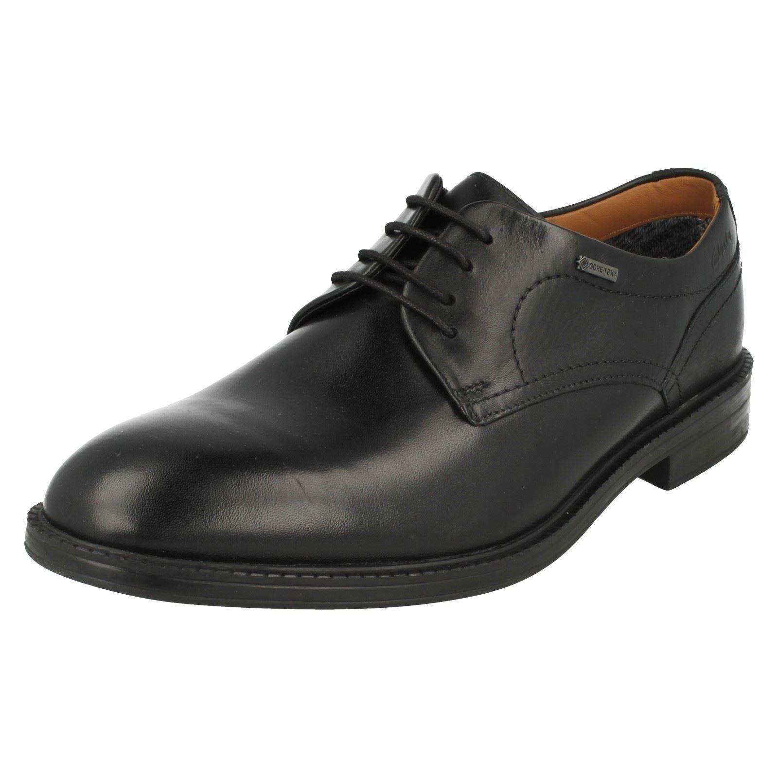 03dbed936b88f7 Herren Clarks Chilver Walk G GTX schwarzes Leder elegant Schnürschuhe G  Walk Fassung 23c249
