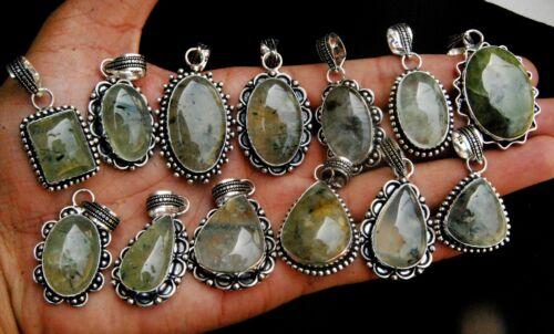 Natural Prehnite Gemstone .925 Sterling Silver Plated Pendants Jewelry Bulk Lot