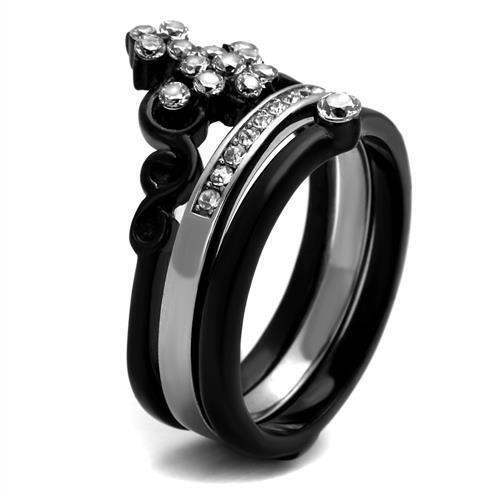 2187 3PCS Simulado Diamante Anillo De Acero Inoxidable Negro Juego De Boda Set