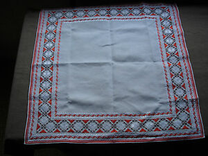 #725 Beautiful Vintage Hand Embroidered Linen Tablecloth 67cm/67cm Linens & Textiles (pre-1930) 26''/26'' Tablecloths