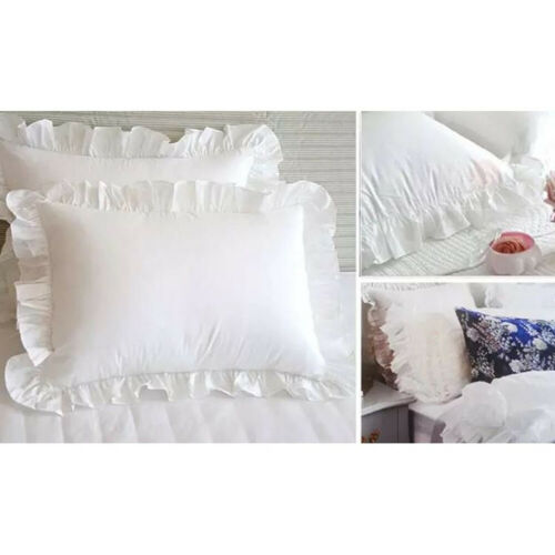 Bedroom Home Frilled Pillow Case Pillowcase Cover Hotel Bedding Decor