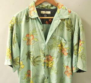 6de29df98e7f Tommy Bahama Men s Green Floral Hawaiian Lounge Club Cigar Camp ...