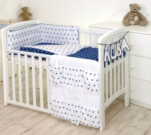 MORE BABY BOY GIRL BEDDING SET FOR COT 120X60 OR COT BED 140X70 ZIG-ZAG STARS
