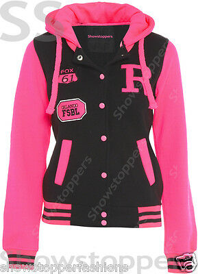 Size 16 18 20 22 24 26 BASEBALL HOODY Womens JACKET Ladies PLUS SIZE Hoodie NEON