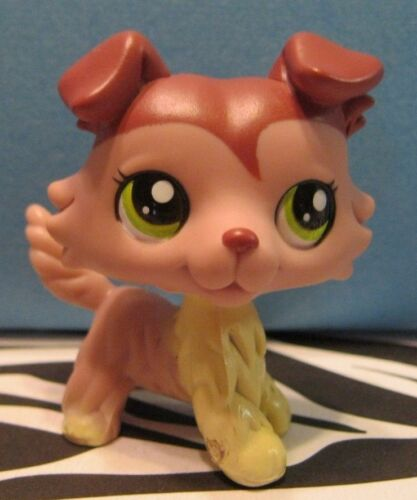 Littlest Pet Shop #1723 Purple & Cream Collie Puppy Dog AUTHENTIC