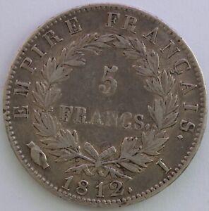 Frankreich-5-Franken-Napoleon-Kaiser-1812-I-Sg