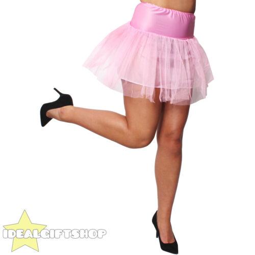 WOMENS LIGHT PINK NETTED TUTU UNDERSKIRT FANCY DRESS RETRO DANCE PETTICOAT 1950S
