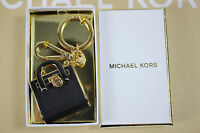 Michael Kors Black Saffiano Leather/gold Hamilton Handbag Key Chain & Clasp