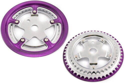 "ONE PIECE 3//32/"" DOUBLE CHAINRING CHAINWHEEL WITH PURPLE GUARD 40//48 TEETH NOS"