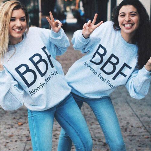 Girlfriends BBF Women Long Sleeve Hoodies Pullover Cotton Tops Jumper Sweatshirt