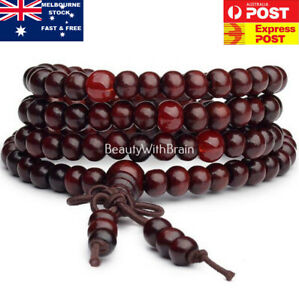 108-Sandalwood-Beads-8mm-Natural-Buddhist-Buddha-Wood-Prayer-Bead-Mala-Bracelet