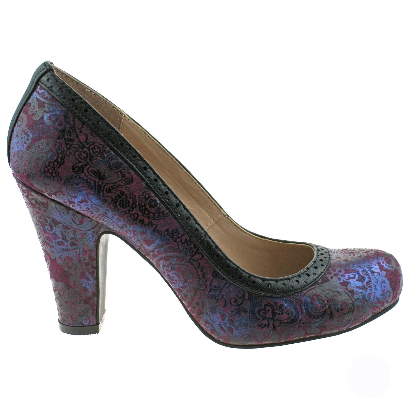 LADIES LOTUS HALLMARK ELEXIS BURGANDY COURT PURPLE PRINT HEELED COURT BURGANDY Schuhe 12b18f