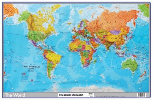 Tiger World Map Desk Mat 59cm x 40cm Durable Writing Pad Mouse Computer