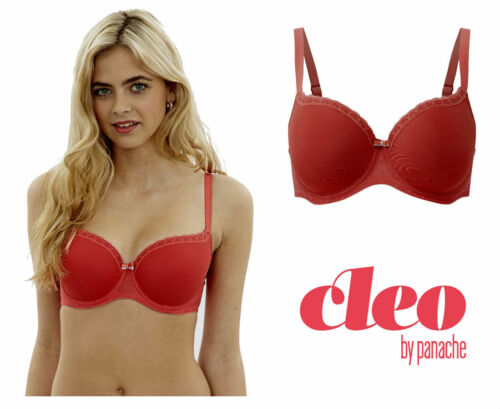 Cleo by Panache Tilda Padded Moulded Balcony Bra Deep Coral Red 9131 New