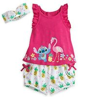 Disney Store Adorable 3-pc Stitch Bloomer Set Knit Top, Bloomers & Headband