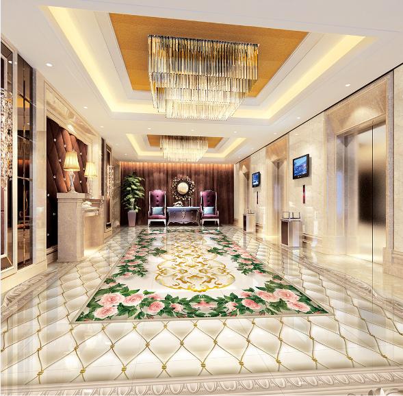 3D Elegant Floral Tile 9 Floor WallPaper Murals Wall Print Decal AJ WALLPAPER US