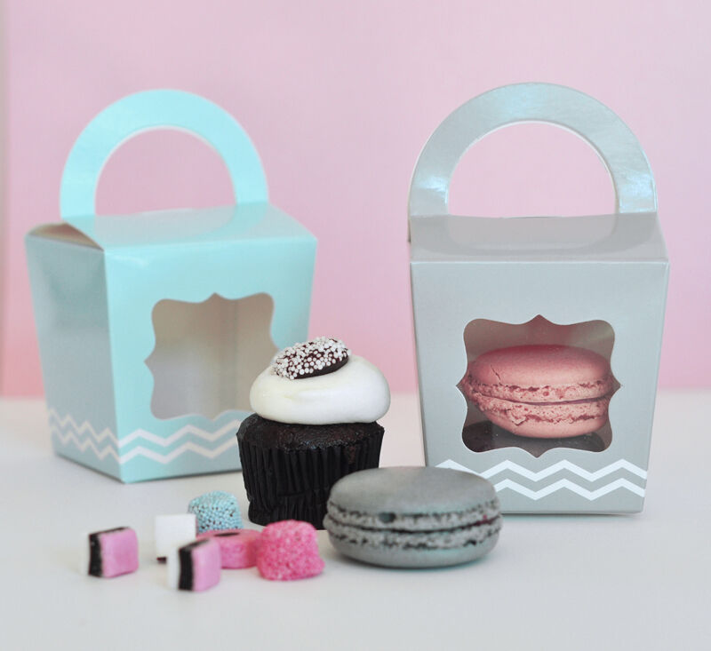 blanc rose gris bleu Chevron Cupcake Treat Candy Tote Wedding Favor Boxes