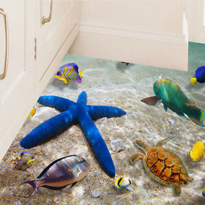 Details zu Wasserdicht 3D Starfish Dolphin Wandaufkleber Badezimmer Boden  Sticker Aufkleber