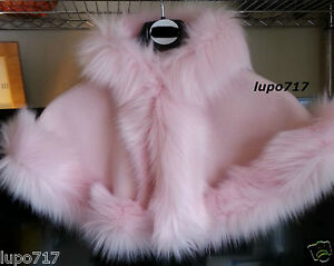 44c1eebc4 BABY GIRL LONG FLUFFY FAUX FUR HOODED WINTER CAPE COAT PONCHO XS 6 ...