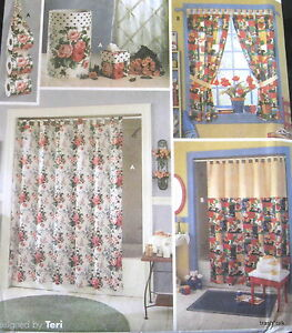 Home Decor Sewing Pattern Bathroom Shower Curtain Tp Holder Vanity Accessories Ebay