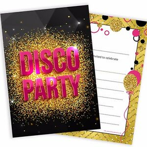 Girls-Pink-and-Gold-Disco-Party-Invitations-A6-Postcard-Size-Pack-10