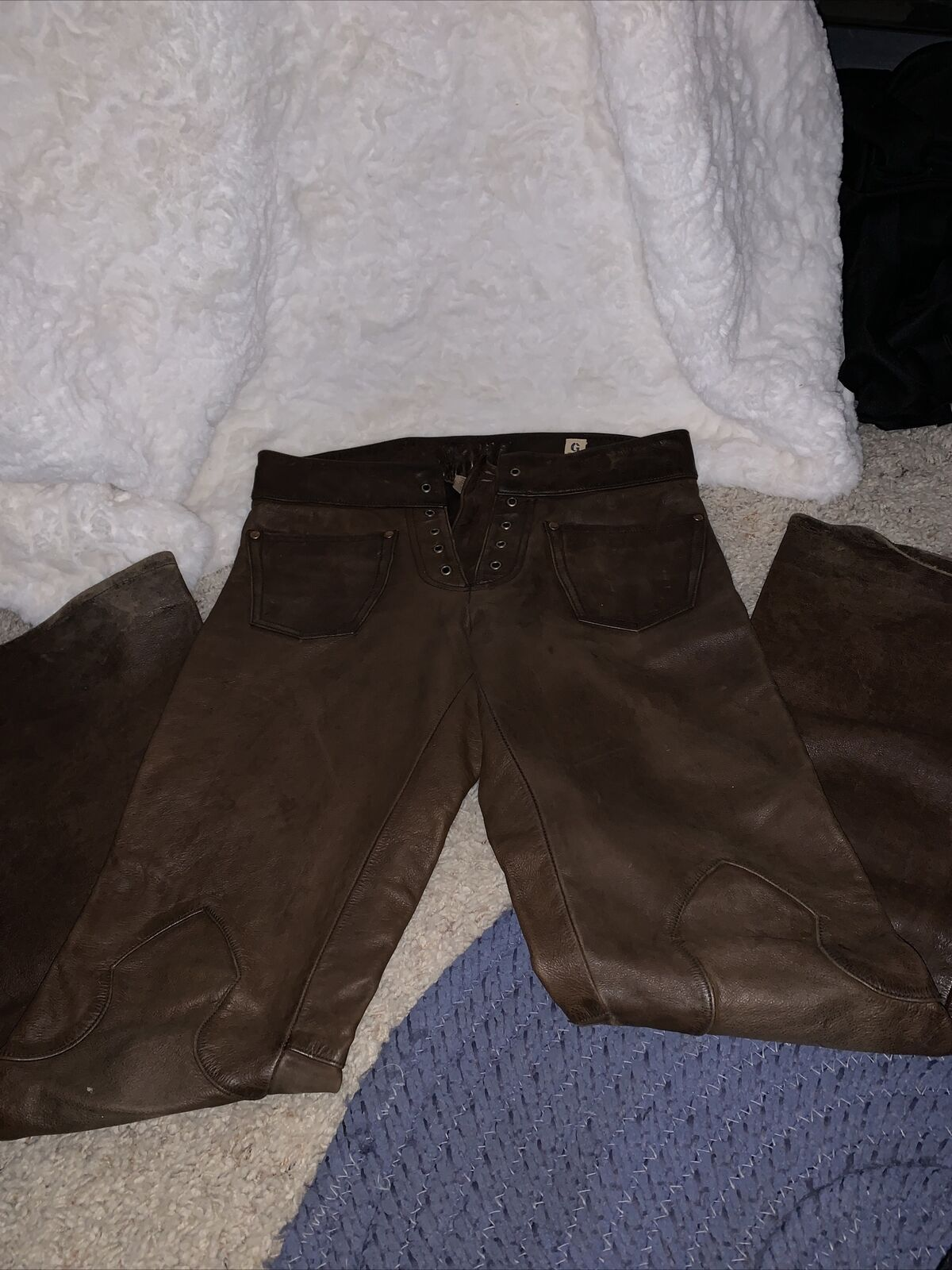 G Brand Leather Brown Pants Size 28 Lace-up Closure Silky Lining