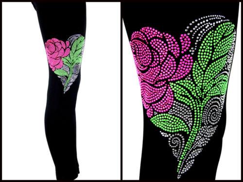 s REGULAR OR PLUS SIZE LEGGINGS Embellished Rhinestone Pink Rose Heart