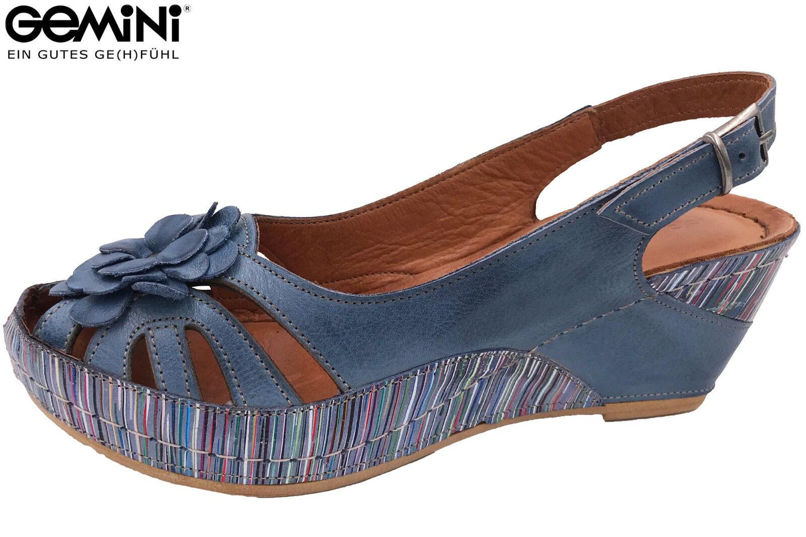 Gemini Damen Sandale Leder Blau Sommer Keilabsatz 31504 NEU Sandalette