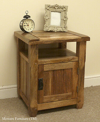 Baku Light Natural Solid Mango 1 Door Bedside Table Cabinet by Mercers Furniture
