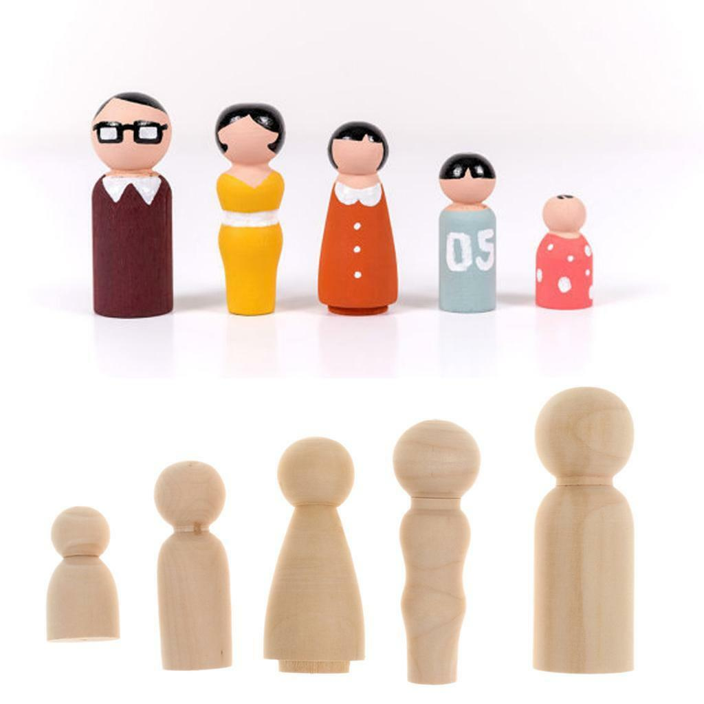 100x Blank Wooden People Peg Dolls Figures Cake Toppers DIY Craft Kids Toys