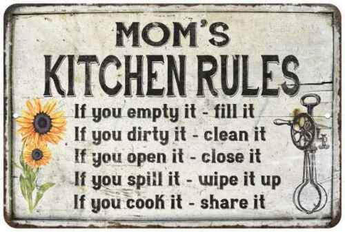 Mom/'s Kitchen Rules Chic Sign Vintage Decor Gift Metal Sign 112180032002