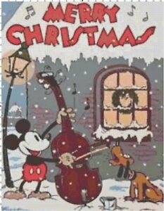 Merry-Christmas-Vintage-Mickey-and-Pluto-Cross-Stitch-DIGITAL-Pattern-Chart