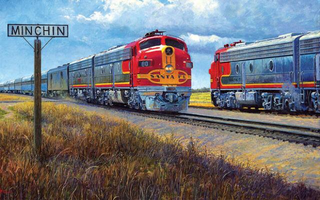 SANTA FE RAILROAD JIGSAW PUZZLE -  Puzzles & Games -550 piece John Winfield Art