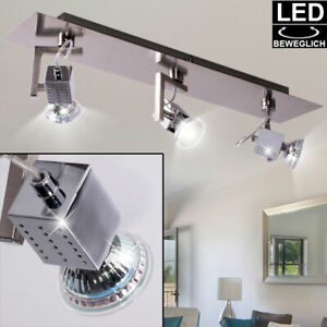 LED Decken Leuchte Spot Strahler Beleuchtung verstellbar Wohn Zimmer Chrom Lampe
