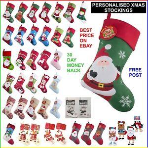 Calze-di-Natale-personalizzato-ricamato-Natale-SACCHI-Aggiungi-il-tuo-nome-Babbo-Natale