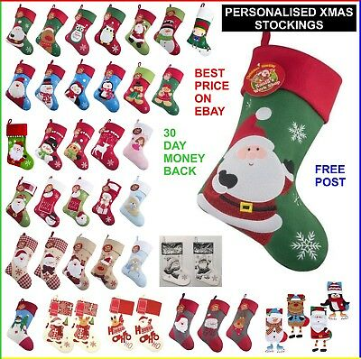 Personalised Christmas Stockings Xmas Sacks Add Your Name Santa Rudolph Snowman Ebay