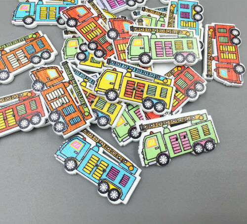 Wooden fire engines Buttons Mix-color Sewing decoration Scrapbooking crafts 32mm
