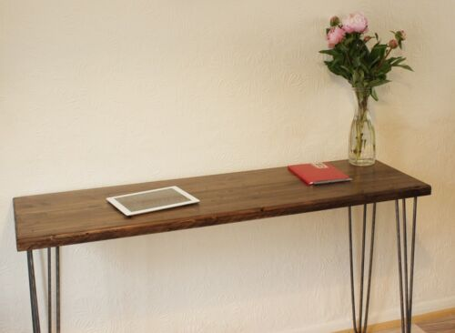 Rustic,Industrial Wood Console Table Desk Metal Hairpin Legs