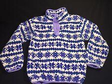 L.L. LL BEAN Youth L Kids Snap Neck Pullover Fleece Jacket Purple Blue White USA
