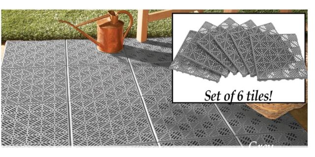 Grey 6 Piece Interlocking Outdoor Patio Flooring Tile Set Create Walk Or Bbq