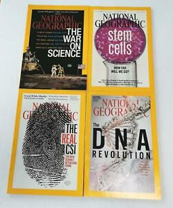 National-Geographic-Magazine-Lot-4-DNA-Stem-Cells-CSI-War-Science-Home-School