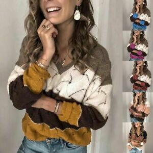 Women-Color-Block-Knitted-Sweater-Jumper-Tops-Casual-Loose-Shirt-Pullover-Blouse