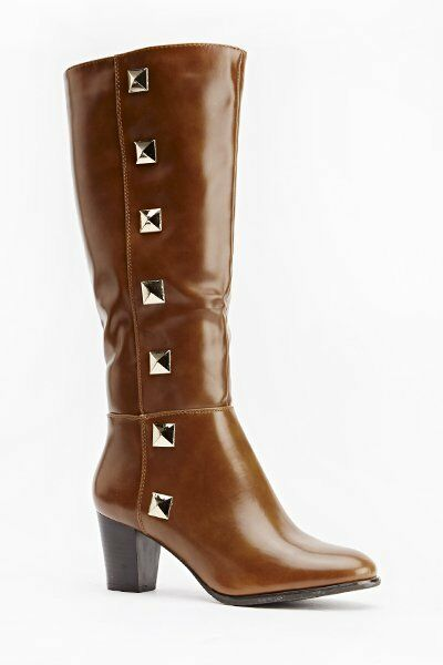 SMART SIZE UK 8 / 41 TAN PATIENT STUD KNEE HIGH BOOTS NEXT DAY POSTING