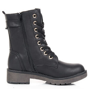 NEW-WOMENS-COMBAT-ARMY-MILITARY-BIKER-BLACK-FLAT-LACE-UP-WORKER-ANKLE-BOOTS-SIZE