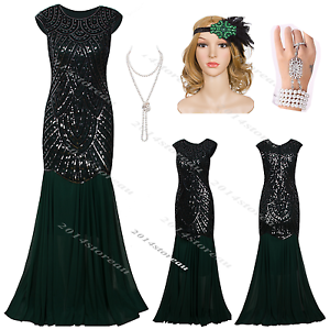 womens 1920s flapper dress long prom great gatsby vintage party evening costume ebay. Black Bedroom Furniture Sets. Home Design Ideas